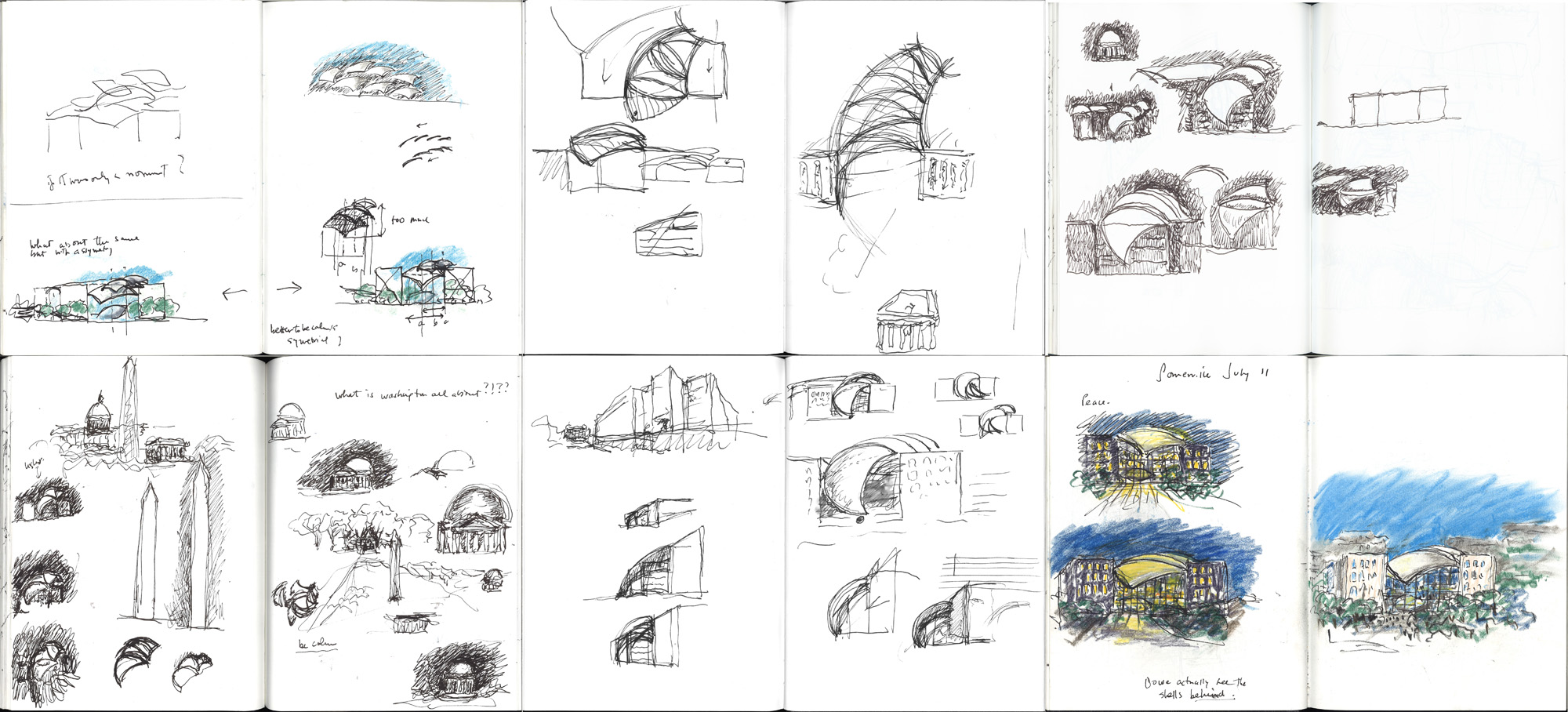 spreads from sketchbook for United States Institute of Peace Headquarters